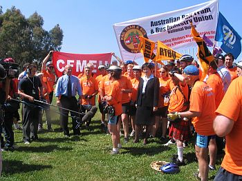 RTBU activists address the media after riding to Canberra to protest against the Howard Government's new industrial laws